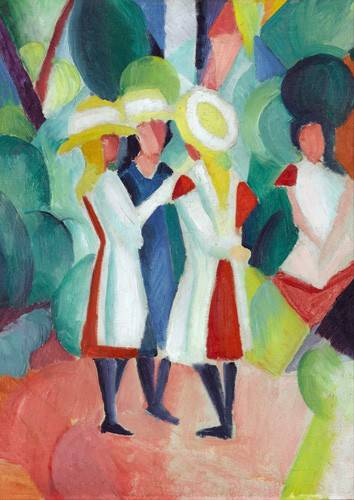 pinturas-de-retratos - Quadro -Three girls in yellow straw hats, 1913- - Macke, August