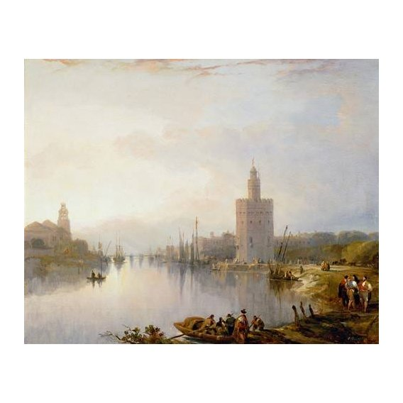 pinturas de paisagens - Quadro -La Torre del Oro, Sevilla-