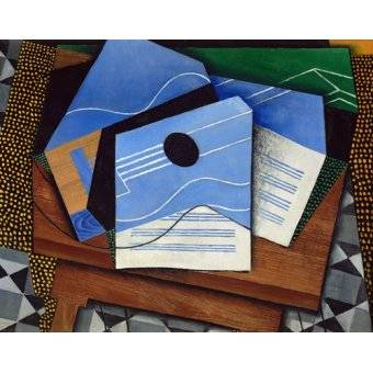 Still life paintings - Picture -Guitar on a table- - Gris, Juan