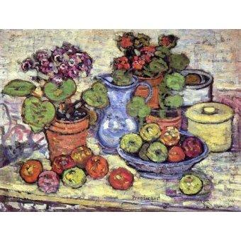 - Quadro -Bodegón con cinerarias y fruta- - Prendergast, Maurice