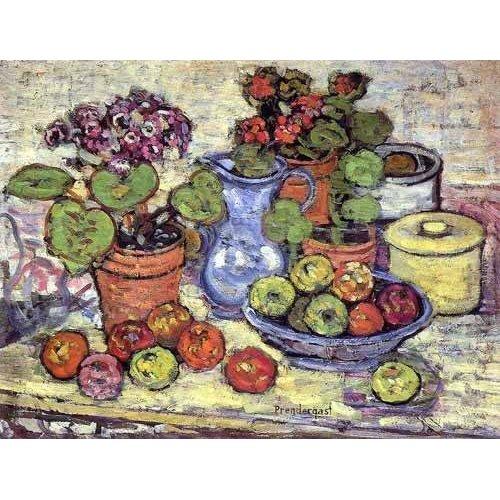 Cuadro -Bodegón con cinerarias y fruta-