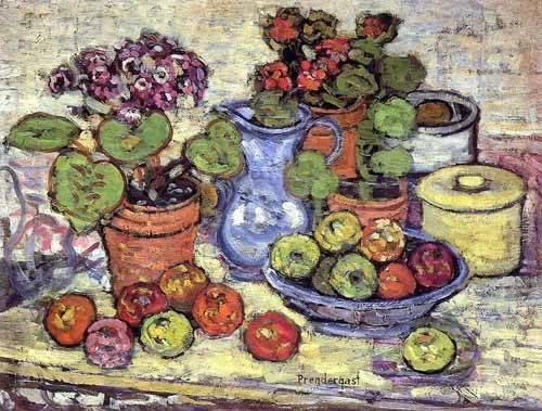 cuadros-decorativos - Quadro -Bodegón con cinerarias y fruta- - Prendergast, Maurice