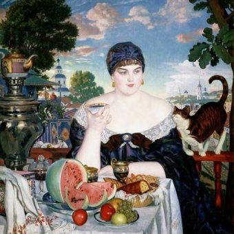 pinturas de retratos - Quadro -Merchant's Wife at Tea- - Kustodiev, Boris
