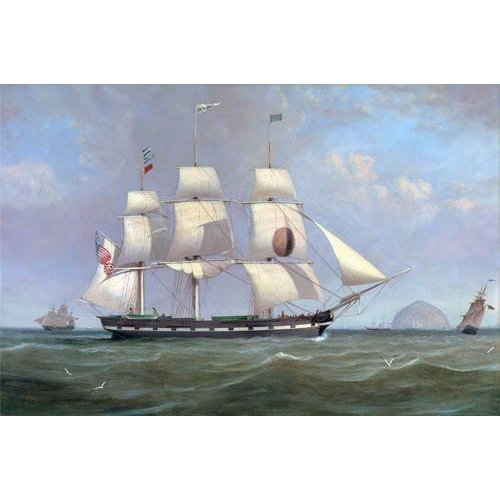 pinturas de paisagens marinhas - Quadro -The Black Ball Line Packet Ship 'New York' off Ailsa Craig, 183