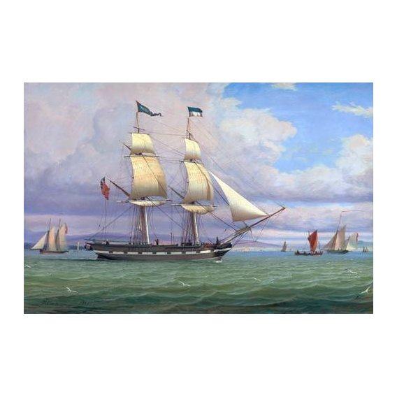 pinturas de paisagens marinhas - Quadro -The English Brig 'Norval' before the Wind, 1833-