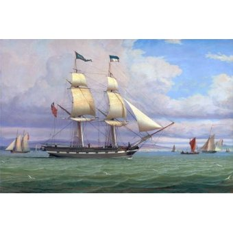 quadros de paisagens marinhas - Quadro -The English Brig 'Norval' before the Wind, 1833- - Clark, William