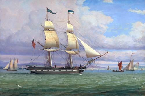 quadros-de-paisagens-marinhas - Quadro -The English Brig 'Norval' before the Wind, 1833- - Clark, William