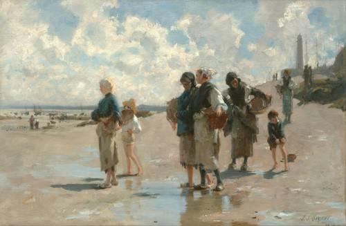 quadros-de-paisagens-marinhas - Quadro -Fishing for Oysters at Cancale, 1878- - Sargent, John Singer