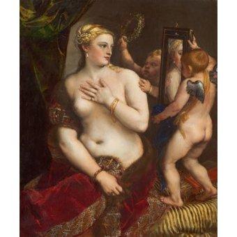 quadros nu artistico - Quadro -Venus con un espejo- - Tiziano, Tiziano Vecellio