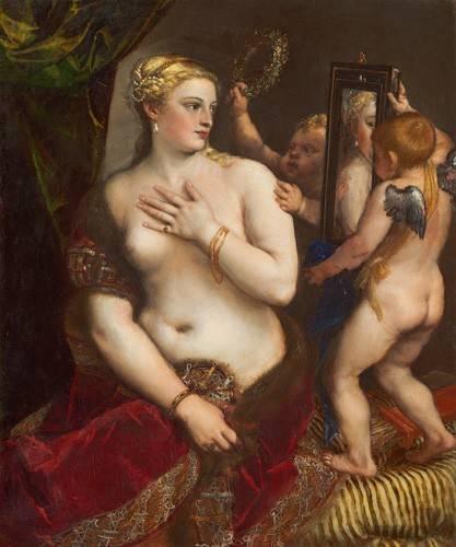 quadros-nu-artistico - Quadro -Venus con un espejo- - Tiziano, Tiziano Vecellio