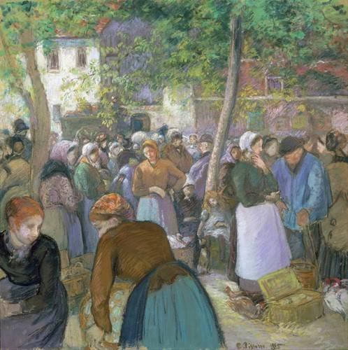 pinturas-de-retratos - Quadro -Poultry Market at Gisors- - Pissarro, Camille
