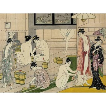 quadros étnicos e orientais - Quadro -Bathhouse women- - Kiyonaga, Torii