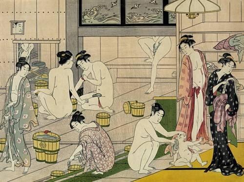quadros-etnicos-e-orientais - Quadro -Bathhouse women- - Kiyonaga, Torii