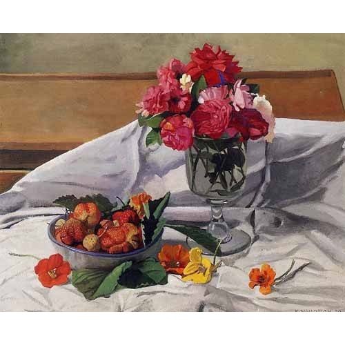 quadros decorativos - Quadro -Flores y fresas-