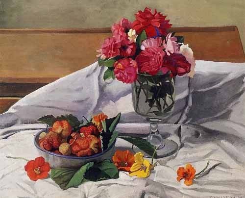 cuadros decorativos - Cuadro -Flores y fresas- - Valloton, Felix