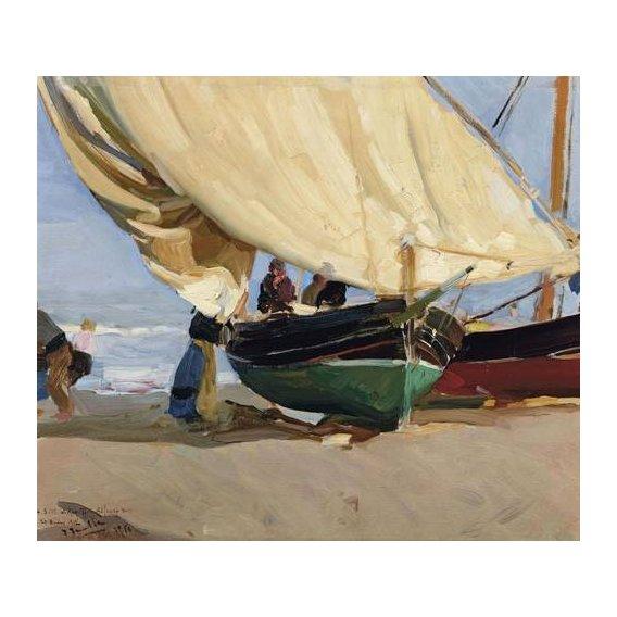 pinturas de paisagens marinhas - Quadro -Pescadores y barcas varadas, Valencia, 1910-