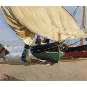 Quadro -Pescadores y barcas varadas, Valencia, 1910-