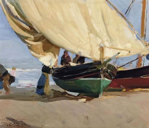 quadros-de-paisagens-marinhas - Quadro -Pescadores y barcas varadas, Valencia, 1910- - Sorolla, Joaquin