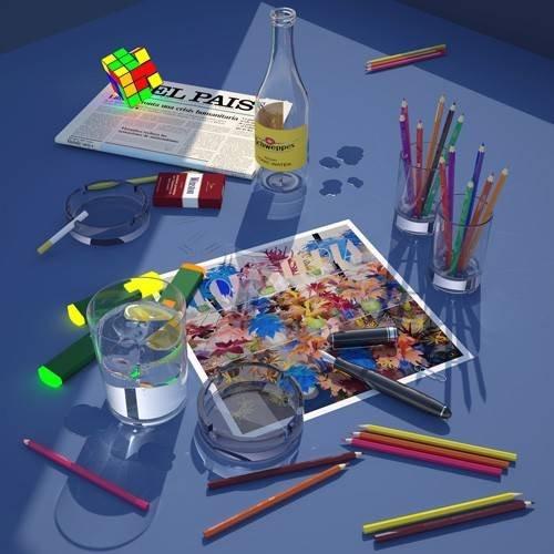 pinturas modernas - Quadro -Mi escritorio a la ventana-