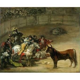 animals - Picture -Corrida de toros, Suerte de Varas (toros)- - Goya y Lucientes, Francisco de
