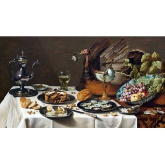 naturezas mortas - Quadro -Still Life with Turkey Pie, 1627- - Claesz, Pieter