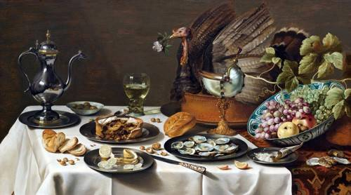 naturezas-mortas - Quadro -Still Life with Turkey Pie, 1627- - Claesz, Pieter