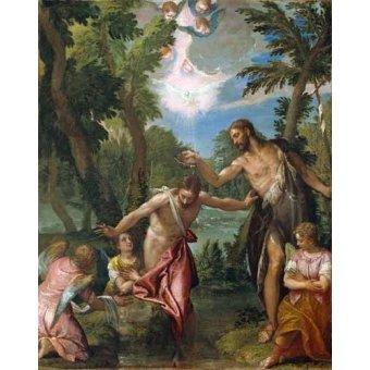 quadros religiosos - Quadro -El Bautismo De Cristo- - Veronese, Paolo