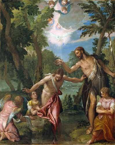 quadros-religiosos - Quadro -El Bautismo De Cristo- - Veronese, Paolo