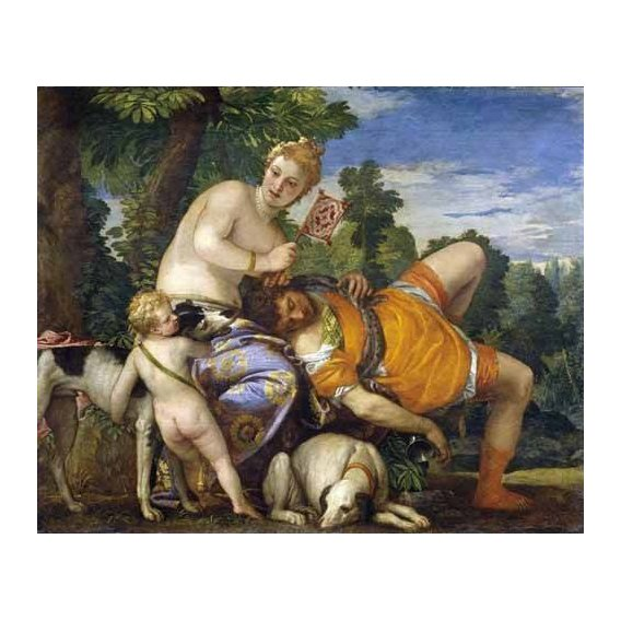 pinturas do retrato - Quadro -Venus y Adonis-