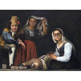 - Quadro -Cuatro figuras en un escalon, 1655- - Murillo, Bartolome Esteban