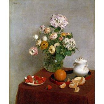 cuadros de bodegones - Cuadro -Flowers_and_Fruit, 1866- - Fantin Latour, Henri