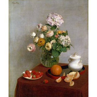 - Quadro -Flowers_and_Fruit, 1866- - Fantin Latour, Henri