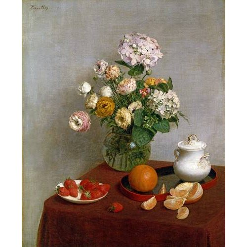 naturezas mortas - Quadro -Flowers_and_Fruit, 1866-