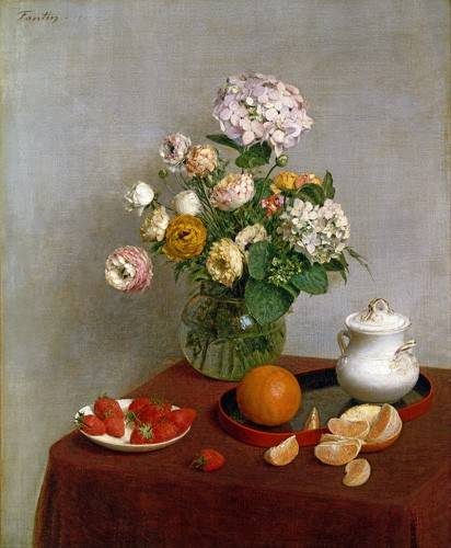 naturezas-mortas - Quadro -Flowers_and_Fruit, 1866- - Fantin Latour, Henri