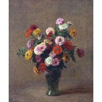 flowers - Picture -Zinnias- - Fantin Latour, Henri