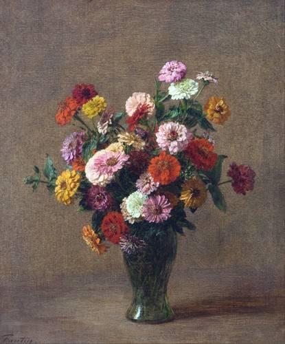 quadros-de-flores - Quadro -Zinnias- - Fantin Latour, Henri