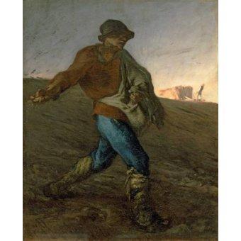 pinturas de retratos - Quadro -El Sembrador- - Millet, Jean François