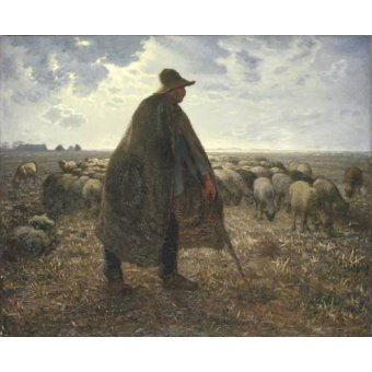 pinturas de retratos - Quadro -Pastor cuidando su rebaño- - Millet, Jean François
