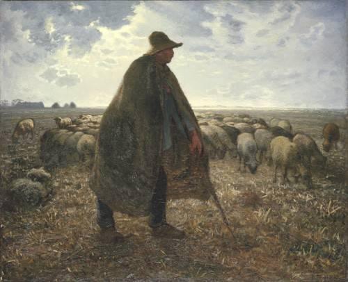pinturas-de-retratos - Quadro -Pastor cuidando su rebaño- - Millet, Jean François