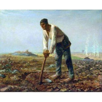 pinturas de retratos - Quadro -Hombre con una azada, 1860- - Millet, Jean François