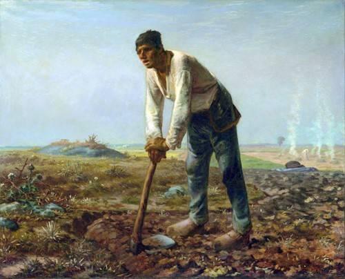 pinturas-de-retratos - Quadro -Hombre con una azada, 1860- - Millet, Jean François