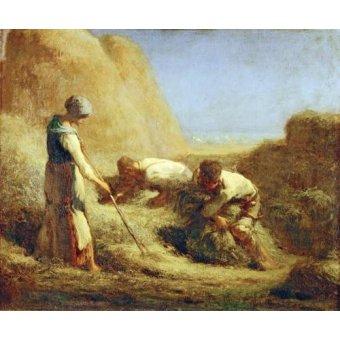 pinturas de retratos - Quadro -Les Batteleurs, 1850- - Millet, Jean François