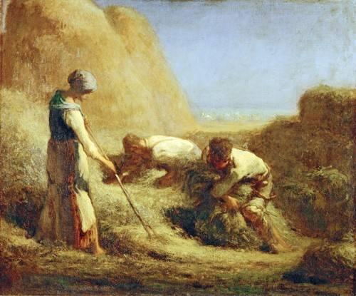 pinturas-de-retratos - Quadro -Les Batteleurs, 1850- - Millet, Jean François
