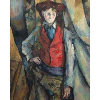 pinturas de retratos - Quadro -Muchacho con chaleco rojo- - Cezanne, Paul