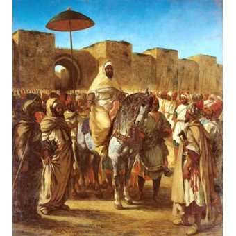 pinturas de retratos - Quadro -The Sultan Of Morocco- - Delacroix, Eugene
