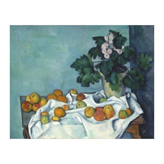 naturezas mortas - Quadro -Still Life with Apples and a Pot of Primroses, 1890-