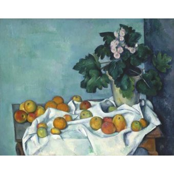 naturezas mortas - Quadro -Still Life with Apples and a Pot of Primroses, 1890- - Cezanne, Paul