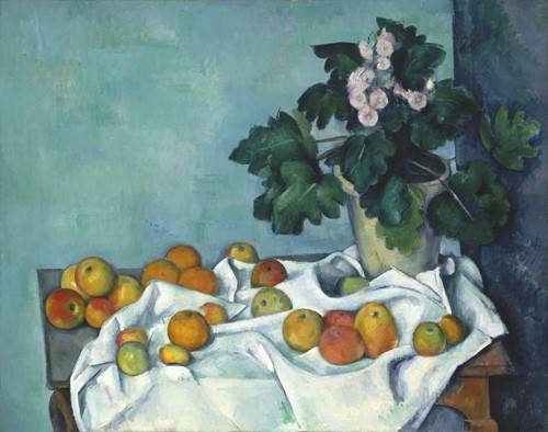 naturezas-mortas - Quadro -Still Life with Apples and a Pot of Primroses, 1890- - Cezanne, Paul