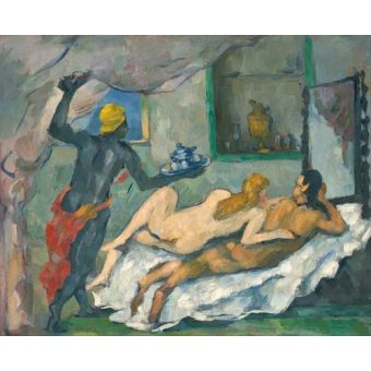 quadros nu artistico - Quadro -Afternoon in Naples- - Cezanne, Paul