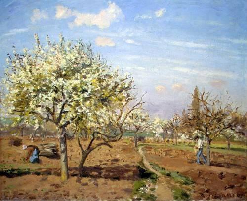 quadros-de-paisagens - Quadro -Huerto en Flor (Louveciennes), 1872- - Pissarro, Camille
